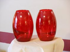 A Pair of Red Glass Matching Vases/Jars by RandysGallery on Etsy