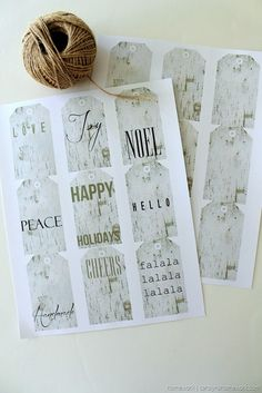 Free Printable Birch Tags via homework - carolynshomework.com Holiday message birch tags and plain birch tags