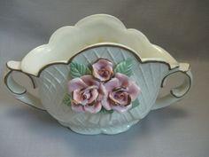 Ceramic Basket Vase Planter Upraise Flowers Scallop Rim Diamond Gold Design