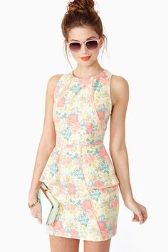Sweet Bloom Peplum Dress (printed denim) LOVE THIS!! Would look fab with cropped brown leather jacket for those chilly spring/summer nights!