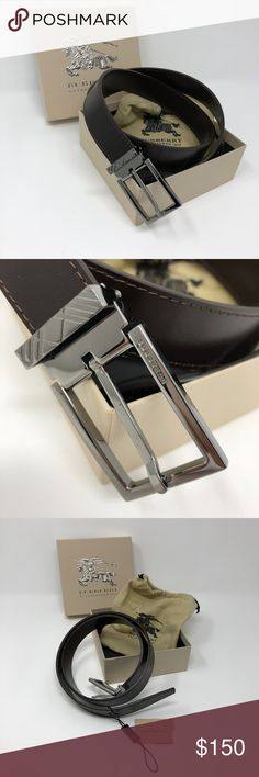 """NWOT BURBERRY Men's Leather Belt Gorgeous! BURBERRY Men's Leather Belt in Chocolate Color with a Steel Silver Buckle. New WOT (tag is included but detached.) Size 34/85. Bought for my husband that wears size 32 waist pant but was too small. The last hole is at approx. 32 1/4"""" from the edge of the buckle. Burberry Accessories Belts"""