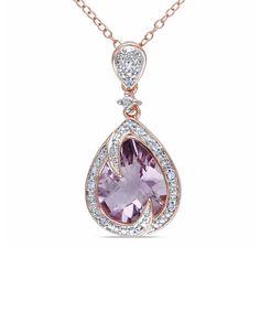 Diamond & Amethyst Teardrop Swirl Pendant Necklace Rare Unique Diamonds Only at Capri Jewelers Arizona ~ www.caprijewelersaz.com