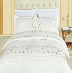 With Love Home Decor - Tasneen Egyptian cotton Embroidered Duvet Cover Set, $89.99