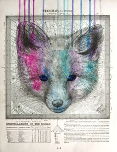 'Divine Intelligence', oil, ink and pencil on 1894 Astronomy Map, by Louise McNaught Steampunk, Natural Forms, Animal Paintings, Mythical Creatures, Mixed Media Art, Art Tutorials, Astronomy, Painting & Drawing, Contemporary Art