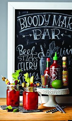 Bloody Mary Bar... served in mason jars. Nice complement to a mimosa bar.