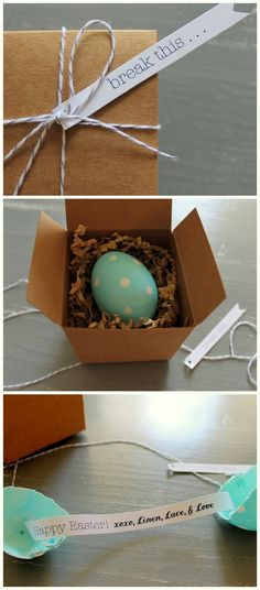 "Linen, Lace, & Love: DIY: Baked ""Hard Boiled"" Eggs, Sticker Easter Eggs, and Easter Egg ""Fortune Cookie"""