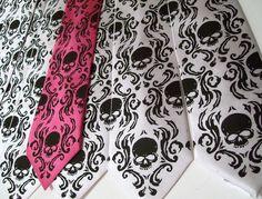 10 custom wedding neckties. Groomsmen gift - bulk discount, Skull Damask Neck tie. $224.00, via Etsy.