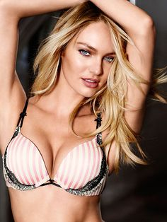 9622222c15 Worn by   Angel Candice Swanepoel Type   Very Sexy Add 2 Cups Push Up Bra  Color   Pink Stripe with Lace Trim. Victoria Secret ...