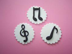 Edible Cupcake Topper Fondant Musical Notes Symbols Cake Cookie Mini Cake. $14.50, via Etsy.
