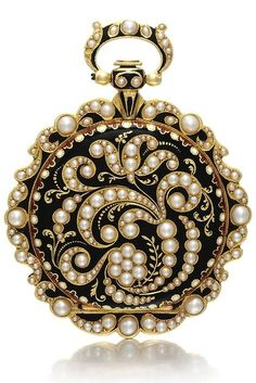 An 18k yellow gold, enamel and pearl set watch circa 1840. Gilt cylinder movement. Gold cuvette with scrolling engraved decoration. Gilt dial, Roman numerals, engraved to the centre with floral motif. Case back with scrolling pearl-set floral design on a black enamel ground, stylised bezel with enamel and pearl-set decoration, similarly decorated bow diameter 41 mm