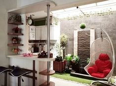 ernariyantoko_mutiacito… Home Building Design, Home Room Design, Tiny House Design, Diy Interior, Room Interior, Interior Design Living Room, Outdoor Laundry Rooms, Small Kitchen Makeovers, Stairs In Living Room