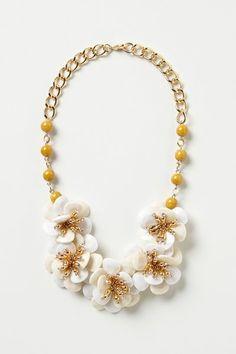 Anthropologie White Camellia Bib Necklace