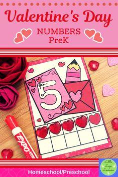 Valentine's Day Numbers PreK – preschool crafts Preschool Centers, Numbers Preschool, Preschool Lessons, Preschool Kindergarten, Math Centers, Preschool Activities, Number Activities, Preschool Learning, Writing Activities