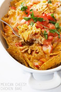 Mexican Cheesy Chicken Bake ~ A fast and easy 20 minute weeknight meal!