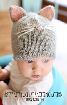 Pretty Kitty Cat Baby Hat KNITTING PATTERN - knit hat pattern for babies, infants - size 6 months