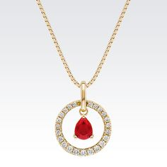 Pear Shaped Ruby and Diamond Pendant from Shane Co.