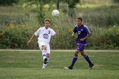 Evan Everett boots the ball