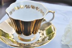 Vintage Queen Anne Tea Cup and Saucer, Glowing Black and Gilt, England