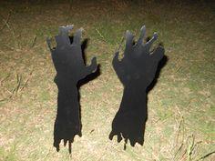 Zombie Yard Decor, Halloween Decoration, Halloween Yard Art, Garden Stakes. $20.00, via Etsy.