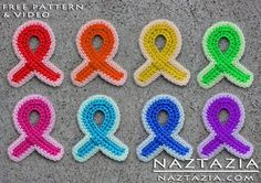 DIY Free Pattern Crochet Awareness Pink Ribbon Ribbons for Breast Cancer and Other Causes with YouTube Tutorial Video by Naztazia