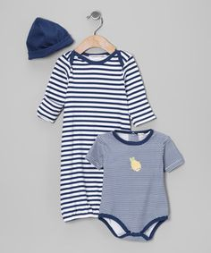 Loving this Rumble Tumble Navy Stripe Gown Set - Infant on #zulily! #zulilyfinds