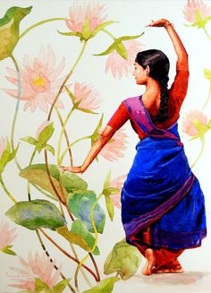 Buy original paintings, drawings and limited edition prints from emerging artists. Wow Painting, Watercolor Painting Techniques, Simple Acrylic Paintings, Figure Painting, Watercolor Paintings, Painting Walls, Dance Paintings, Indian Art Paintings, Indian Folk Art