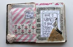 JUNK JOURNAL - PINK STRIPED TREAT BAG - besottment by paper relics: Sewn Journaling Pages Part III