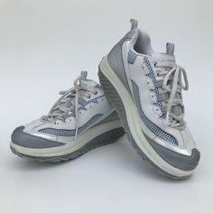 445c27653e5 Details about Skechers Women s Shape Ups Toning Shoes Silver Blue White Size  9  11803 Nice!👀