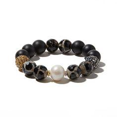 Leopard, Onyx and Freshwater Pearl Multi Pavé Bracelet – Joie DiGiovanni
