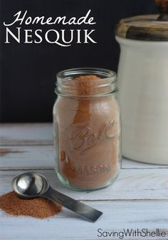 Homemade Nesquik couldn't be easier. Just 3 simple ingredients From: Simply Shellie, please visit Homemade Nesquik couldn't be easier. Just 3 simple ingredients. Whip up a batch to use for chocolate milk, Cafe Mocha, chocolate cool whip and more! Homemade Dry Mixes, Homemade Spices, Homemade Seasonings, Homemade Food, Homemade Recipe, Café Mocha, Mocha Chocolate, Chocolate Milk Mix, Homemade Chocolate