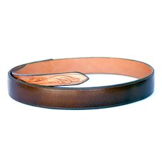 Handmade Tooled Belt in Western Style Cordova Brown Leather at luckystargallery.com ~ $165