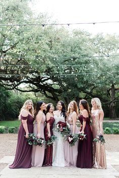 Mix and Match bridesmaid dresses available in shades of cabernet, blushes, and sequin. Different styles of dresses and bridesmaid separates create the perfect outdoor fall wedding look. Order a sample Bridesmaid Dresses Different Colors, Mix Match Bridesmaids, Different Bridesmaid Dresses, Fall Wedding Bridesmaids, Burgundy Bridesmaid Dresses, Fall Wedding Dresses, Bridesmaid Gowns, Burgundy Wedding, Bridesmaid Colours