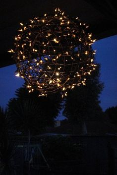 Create your own lighted ball by using an old hanging basket