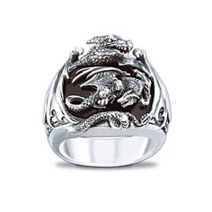 Sculpted Silver Dragon Black Onyx Men's Ring Gold Jewellery, Silver Jewelry, Marcasite Jewelry, Mommy Jewelry, Sterling Silver Rings, Rings For Men, Indian, Floral, Flowers