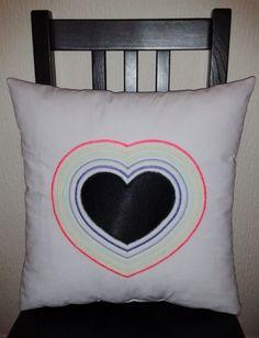 Applique Heart Rainbow Cushion £10.00