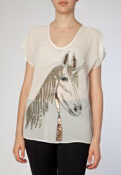 Blusa de seda Carina Duek com unicórnio. #unicorn #fashion