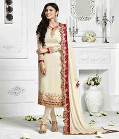 Naksh - Splendid Off White Colour Georgette Embroidered Straight Cut Churidar Suit