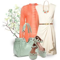 : TOBACCO D&B BAG - White Dress, Coral Jacket, Mint Green & Gold Necklace, Gold Plat Belt, Gold Crown Bangle, Gold Wedding Ring, Gold Watch, Gold Knob Earrings, Mint Green Heel Shoes.