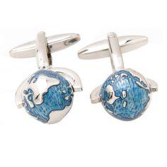 Blue Abstract Spinning Globe Cufflinks