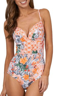 Extremely well structured and crisp in design, this supportive one-piece swimsuit with underwire welcomes the arrival of the oriental floral officially in bloom! #JETSSwimwear