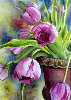 Watercolor And Ink, Watercolor Flowers, Watercolor Paintings, Tulip Painting, Classic Paintings, Flower Art, Illustrations, Drawings, Beautiful Paintings