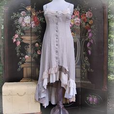 Hi Low Dress, Linen Jumper, Tunic, Steampunk, Lace Ruffles, Shabby Chic, Tattered, Gypsy, Eco Earth Friendly, Upcycled Clothing