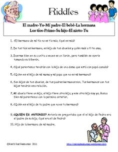 Mi familia riddles- Spanish Vocabulary