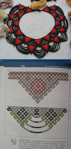 Bead necklace with pattern