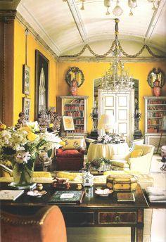 "Nancy Lancaster famous ""Yellow Room"".  Avery Row, London. Interior Design John Fowler"