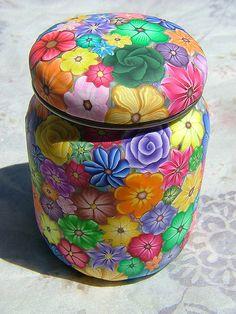 Polymer clay covered babyfood jar | by polymerclaycreations