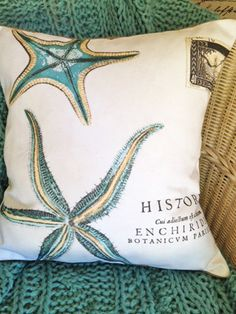 Shabby French Starfish Pillow Cover