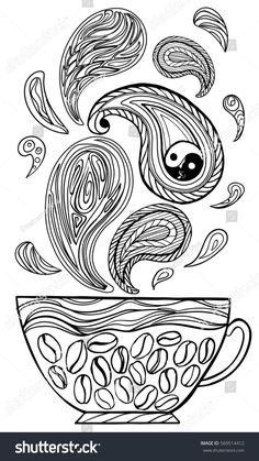 Yin-yang.Coffee Cup with abstract patterns in the style of zentangle, doodle. Hand drawn illustration, coloring book for adults. Vector illustration. coffee beans, paisley,  cucumber. black and white