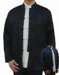 Black-Navy Blue Reversible Chinese Men's Silk Rayon Two-Face Jacket Coat Size S M L XL XXL XXXL Free Shipping 0937-2 #Affiliate