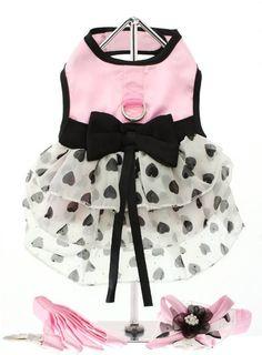 Pink Satin & Hearts Chiffon Harness Dress, Leash & Hat